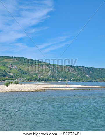 low Water at Rhine River in Wine Village of Bacharach,Middle Rhine Valley,Rhineland-Palatinate,Germany