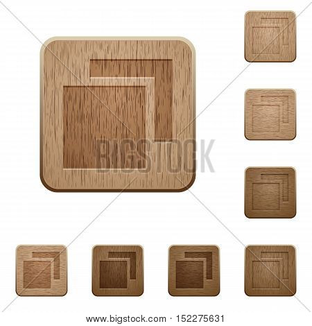 Set of carved wooden overlapping elements in 8 variations.