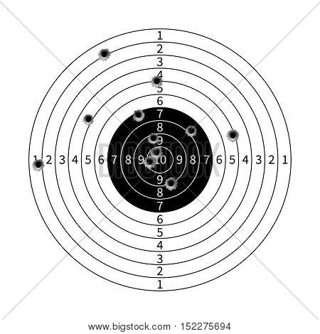 Gun target with bullet holes vector illustration. Success shot in aim
