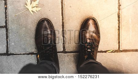 The fashionable leather shoes brown outdoors day