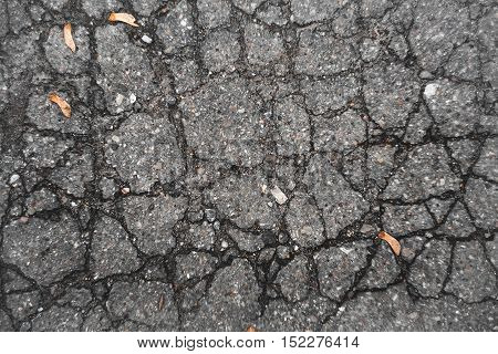 Texture of old, cracked asphalt. The old road