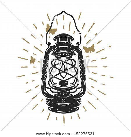 Glowing kerosene lamp.  Vintage design Vector illustration.
