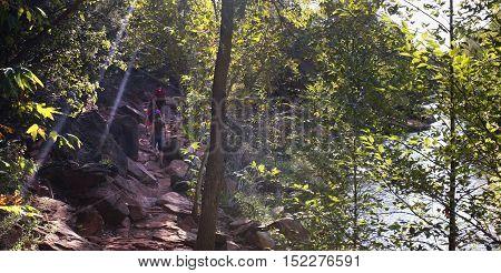 SEDONA, ARIZONA, OCTOBER 11. The Cathedral Rock Trail on October 11, 2016, near Sedona, Arizona. A family hikes the Cathedral Rock Trail along Oak Creek near Sedona Arizona.