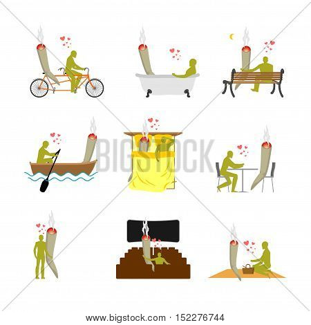 Lover Joint Or Spliff Set. Addict On Picnic. Man And Smoking Drugon Bike. Marijuana Lovers In Bed. R