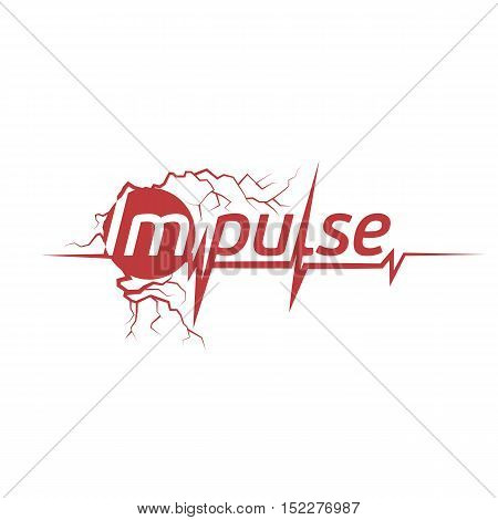 Isolated abstract red color cardiogram on the white background logo. Pulse logotype. Medical icon. Sport equipment element. Healthy heartbeat sign. Vector illustration