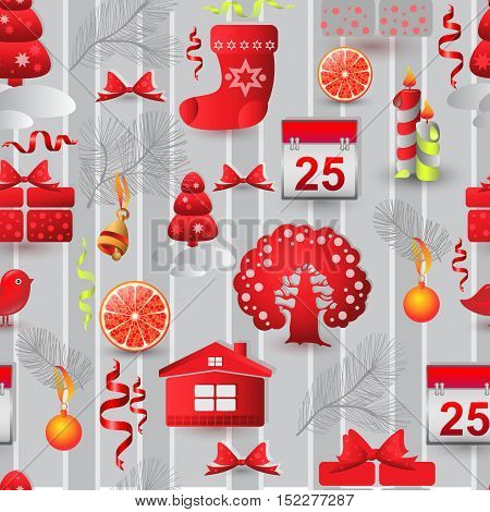 Vector Christmas seamless pattern. Include tree, house, bird, gift sock and candle
