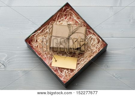 Decoration Of Gift Box Wrapped In Craft Paper