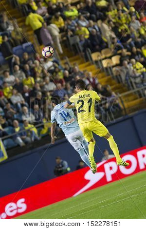 VILLARREAL, SPAIN - OCTOBER 16th: 14 Orellana, 21 Bruno during La Liga soccer match between Villarreal CF and R.C. Celta de Vigo at El Madrigal Stadium on October 16, 2016 in Villarreal, Spain
