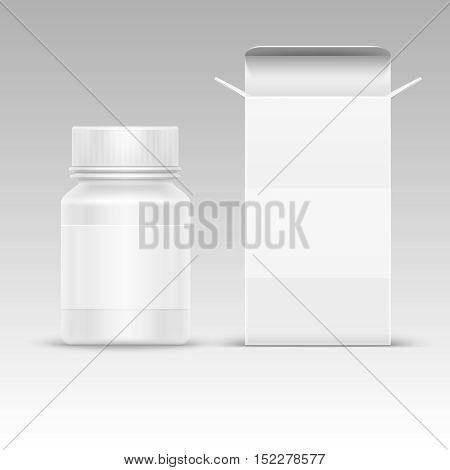 Medical blank packaging paper box and medicine plastic bottle for pills isolated on white vector illustration. Mockup of container for tablet and drug