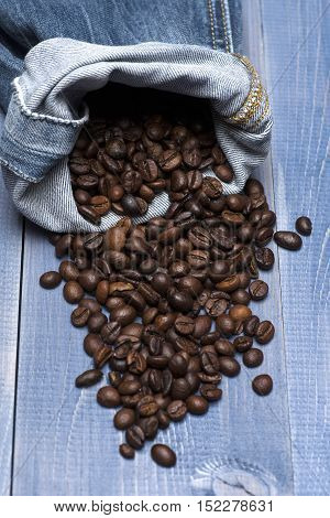 Coffee Beans With Blue Jeans