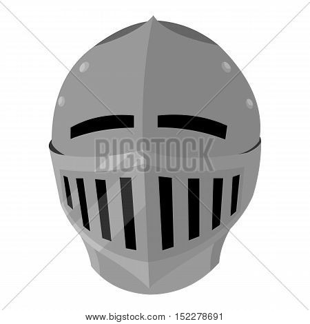 Medieval helmet icon monochrome. Single weapon icon from the big ammunition, arms monochrome.