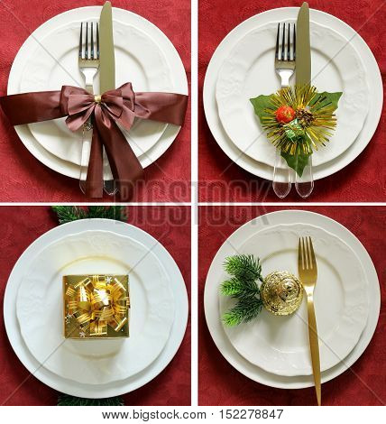 collage set Christmas table setting with festive decorations