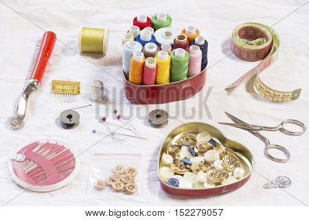 Sewing items on a white paper background
