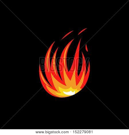 Isolated abstract red and orange color fire flame logo on white background. Campfire logotype. Spicy food symbol. Heat icon. Hot energy sign. Vector illustration