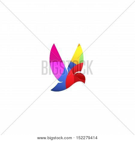 Isolated violet color flying bird side view vector logo. Animal logotype. Wings contour icon. Pigeon silhouette. Vector bird illustration. Air symbol
