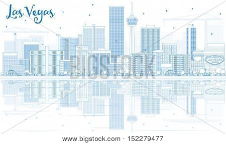 Outline Las Vegas Skyline with Blue Buildings and Reflections. Vector Illustration. Business Travel and Tourism Concept with Modern Architecture. Image for Presentation Banner Placard and Web Site.