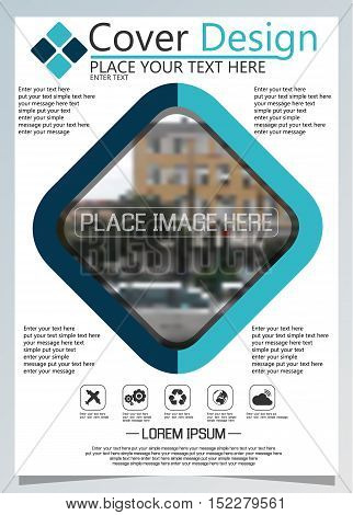 Brochure template for annual technology related repostsvector design a4 layout with space for text and photos blue eight