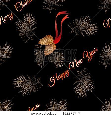 Vector xmas seamless pattern. Include  golden pine cone, pine branch and words Merry Christmas Happy New Year.