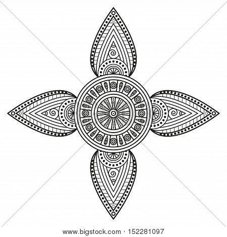 Oriental mandala print. Hindu motifs ornamental design for mural art decor, boho backgrounds & mandala tattoo elements. Coloring book pages mandala illustration.