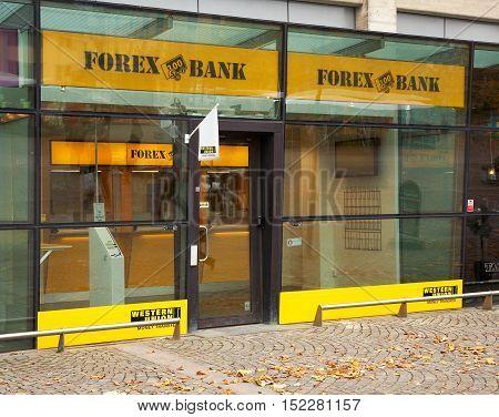 Sodertalje, Sweden - October 24, 2012: Forex bank branch in the Main Square.