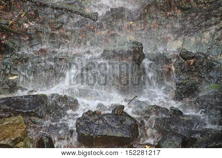 little mountain waterfall, close up, low angle view