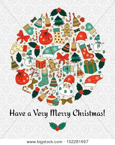 Christmas round greeting card with text Merry Christmas and many winter doodles. Santa, toys, cookies, snowmen, fir, candies, socks, gifts, bows, snowflakes, stars, hollies, mittens, etc.