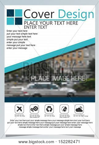 Brochure template for annual technology related repostsvector design a4 layout with space for text and photos blue nine