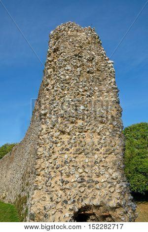 Ancient Norman castle wall, side view, portrait