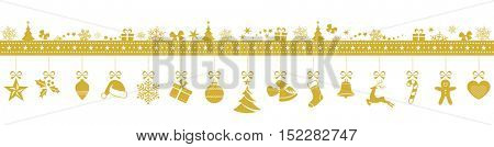 Set of 15 golden Christmas ornaments hanging from a border made from various Christmas symbols isolated on white.