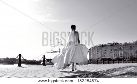 Beauty bride in bridal gown with lace veil in the nature. Beautiful model girl in a white wedding dress. Female portrait in the park. Woman with hairstyle. Cute lady outdoors