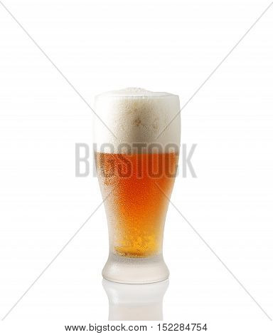 glass of foamy beer on a white background
