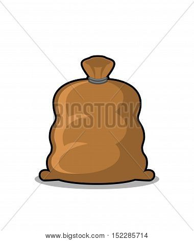 Full Sack Isolated. Brown Textile Bag On White Background