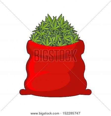 Full Santa Sack Of Cannabis. Large Red Bag Of Marijuana. Smoking Drug. Heap Hemp. Gift For New Year