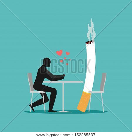 Lover Smoke. Man And Cigarette In Cafe. Smoker In Restaurant. Nicotine Lovers Are Sitting At Table.