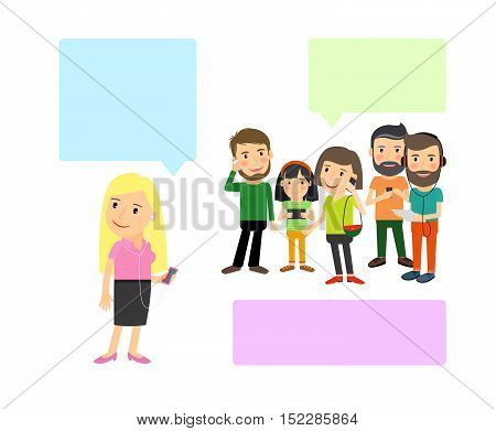 Cartoon illustration, people with gadgets and speech bubbles. Vcetor illustration