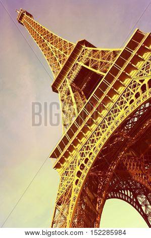 France. The famous symbol of Paris - the Eiffel Tower.
