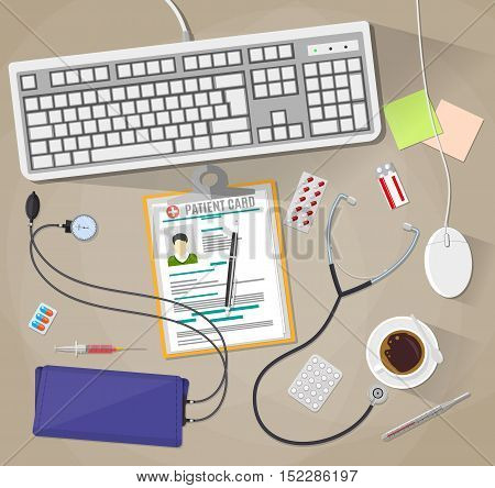 Wooden doctors desk with keyboard and mouse, medical and healthcare devices and pills. vector illustration in flat style