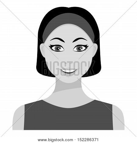 Black hair woman icon in monochrome style isolated on white background. Woman symbol vector illustration.