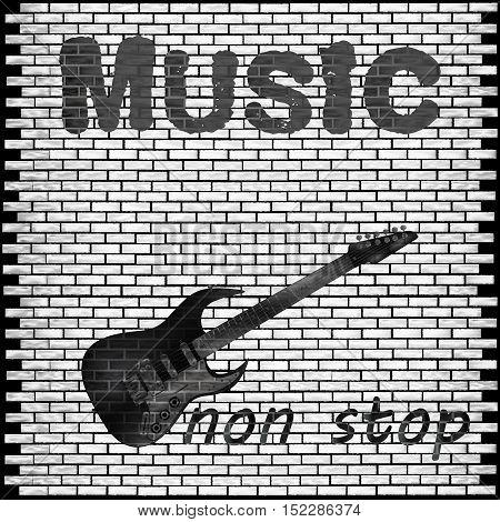 Vector musical background brick wall with a guitar and the words music non-stop.