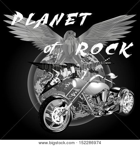 vector illustration planet of rock universe and chopper