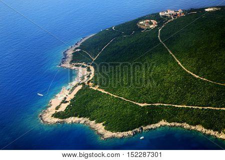 Adriatic Sea Coast, Green Mountains. Nature Landscape