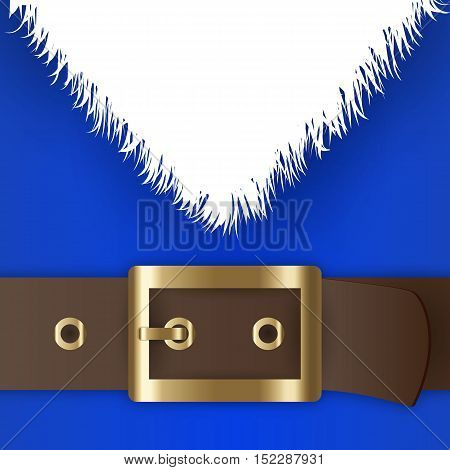 Blue santa claus suit, leather belt with gold buckle, white beard, concept for greeting or postal card, vector illustration