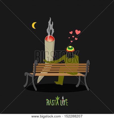 Rasta Life. Rastaman And Joint Or Spliff Look At Moon. Man And Smoking Drug On Bench. Marijuana Love