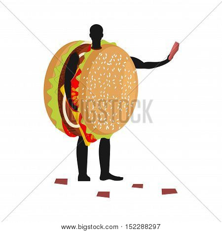 Hamburger Costume Man Mascot Promoter. Male In Suit Burger Distributes Flyers. Puppets Fast Food Eng