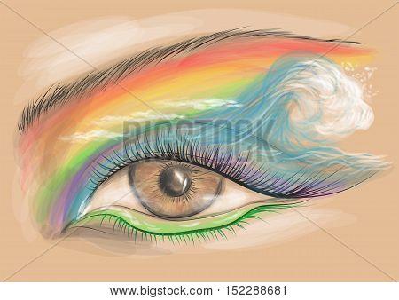 eyeshadow. eyes look with creative colorful makeup.