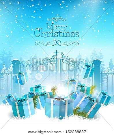 Chrismas greeting card with blue gifts in the snow and open gate on the background