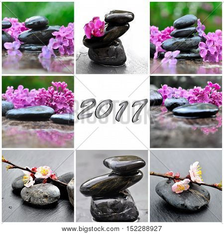 greeting card 2017 about wellness theme with pebbles and flowers
