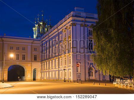 SAINT PETERSBURG, RUSSIA - JULY 26, 2015: Catherine Palace summer night. Historical landmark of the Tsarskoye Selo, Russia