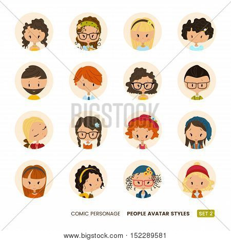 People avatars collection. Comic personage. Girls and boys. Hipster hairdo look