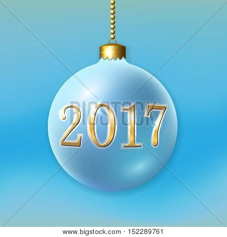 Merry Christmas 3D bauble decoration with gold 2017 number. Blue ball isolated on light-blue background. Bright golden holiday design. Xmas Happy New Year celebration. Vector illustration